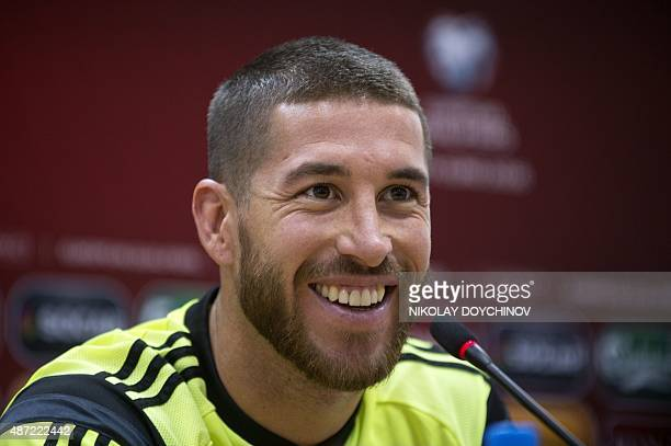 Spain's Defender Sergio Ramos attends a press conference at the Filip II Arena stadium in Skopje on September 7 on the eve of the Euro 2016...