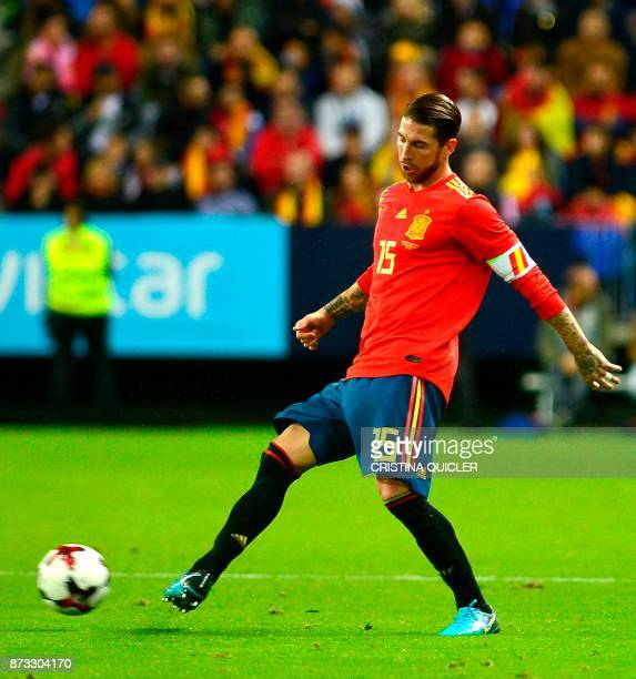 Spain's defender Sergio Ramos controls the ball during the international friendly football match Spain against Costa Rica at La Rosaleda stadium in...