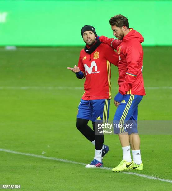 Spain's defender Sergio Ramos during a training session at the Molinon stadium in Gijon on March 23 2017 on the eve of the World Cup 2018 European...