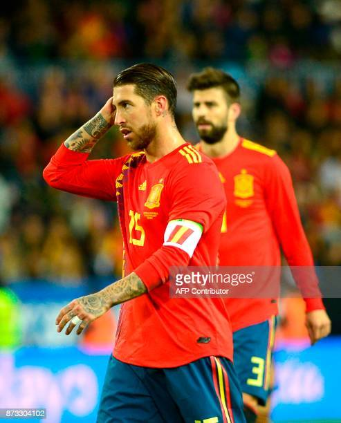 Spain's defender Sergio Ramos gestures during the international friendly football match Spain against Costa Rica at La Rosaleda stadium in Malaga on...