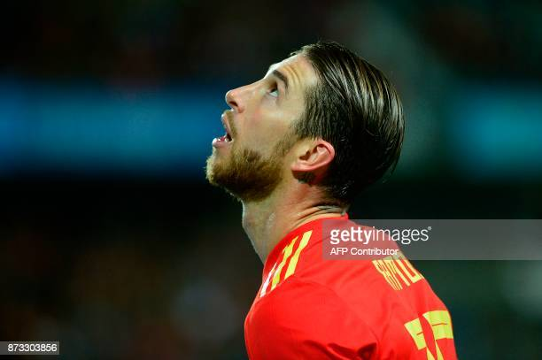 Spain's defender Sergio Ramos looks on during the international friendly football match Spain against Costa Rica at La Rosaleda stadium in Malaga on...
