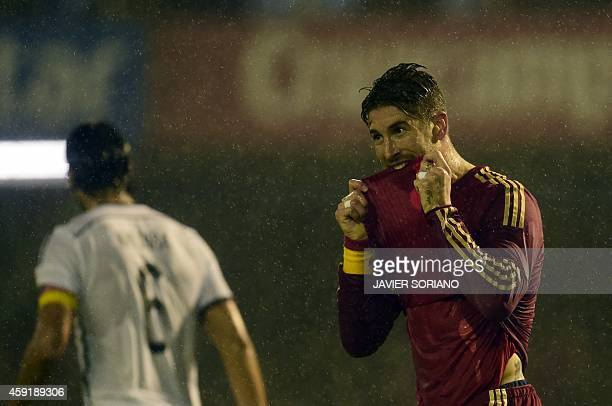 Spain's defender Sergio Ramos reacts during a friendly football match Spain vs Germany at the Balaidos stadium in Vigo on November 18 2014 AFP PHOTO...