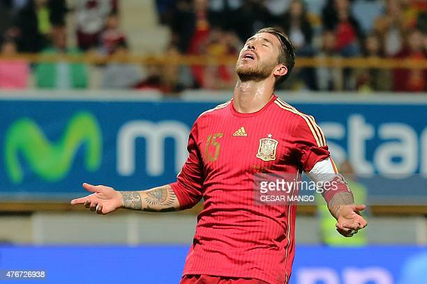 Spain's defender Sergio Ramos reacts during the friendly football match Spain vs Costa Rica at the Reino de Leon stadium in Leon on June 11 2015 AFP...
