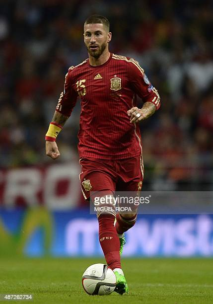 Spain´s defender Sergio Ramos runs for the ball during the Euro 2016 qualifying football match Spain vs Slovakia at the Carlos Tartiere stadium in...