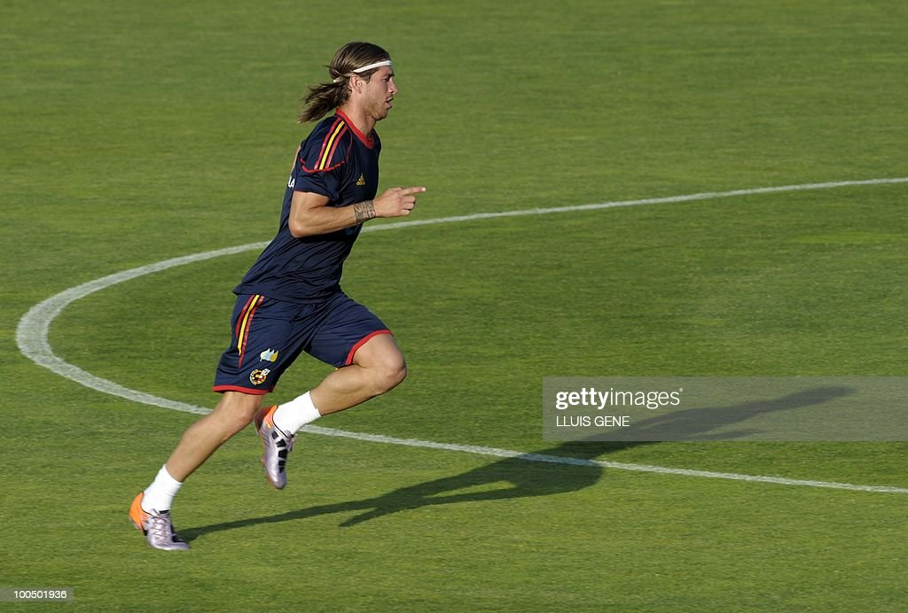Spain's defender Sergio Ramos takes part in a training session of the Spanish football team with Spain's Prince Felipe on May 24, 2010, at the Sports City of Las Rozas, near Madrid. Spain, among the favourites for the World Cup, which runs from June 11-July 11, face Switzerland, Honduras and Chile in Group H of the opening round.