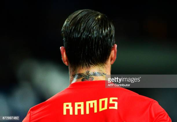 Spain's defender Sergio Ramos´s tattoo is pictured during the international friendly football match Spain against Costa Rica at La Rosaleda stadium...
