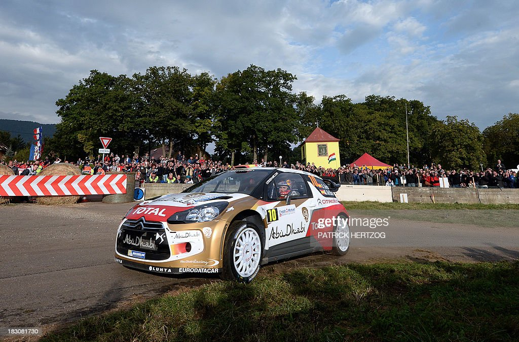 Spain's driver Daniel Sordo and his copilot Carlos Del Barrio steer their Citroen DS3 WRC during the Rally of FranceAlsace the 11th event of the...