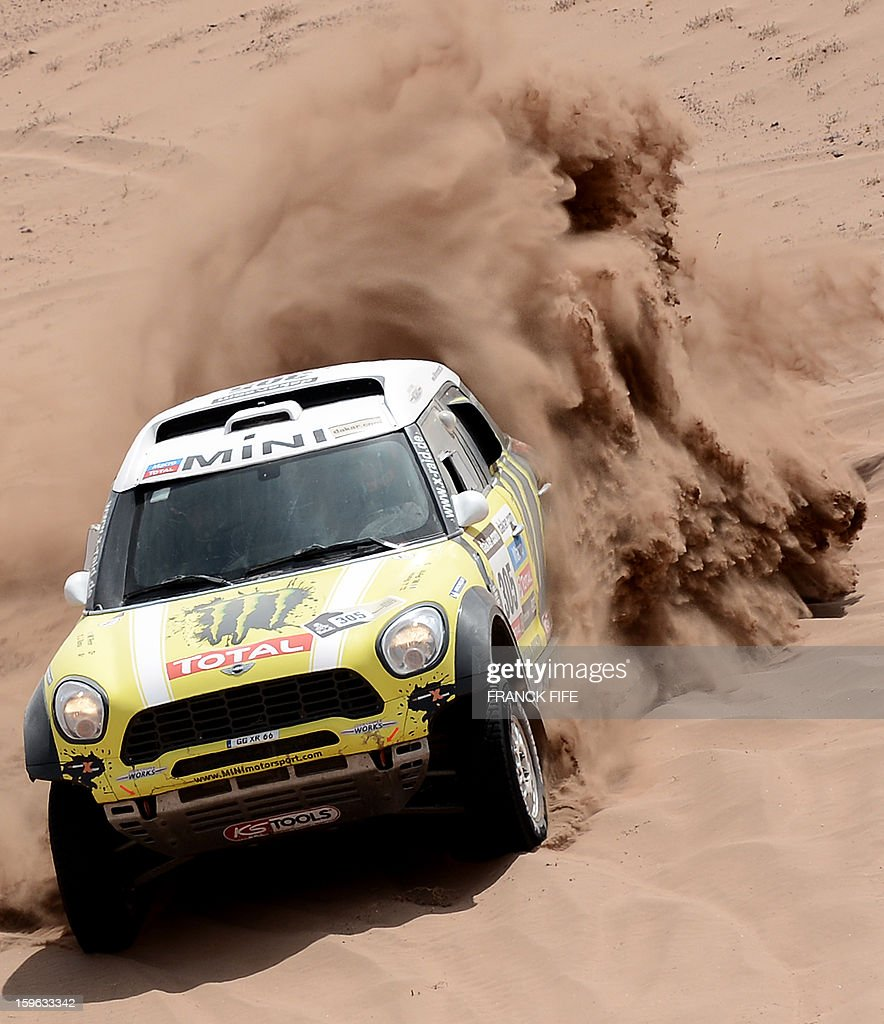 Spain's driver Joan Nani Roma steers his Mini during the Stage 12 of the 2013 Dakar Rally between Fiambala in Argentina and Copiapo in Chile, on January 17, 2013. The rally is taking place in Peru, Argentina and Chile from January 5 to 20.