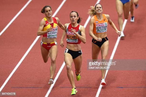Spain's Esther Guerrero Switzerland's Selina Buchel and Netherlands' Sanne Verstegen compete in the women's 800m at the 2017 European Athletics...