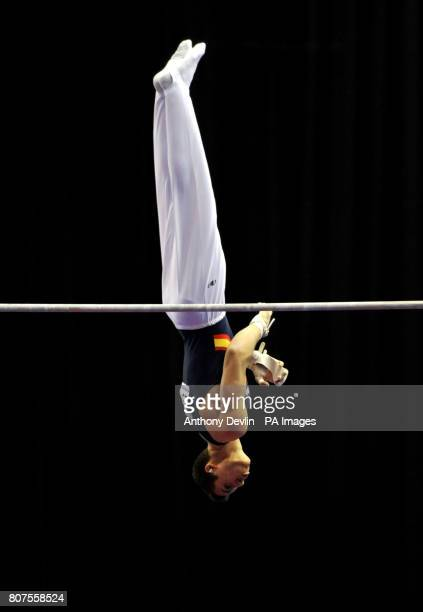 Spain's Fabian Gonzalez competes on the High Bar during the Junior Qualification of the European Gymnastics Championships at the National Indoor...