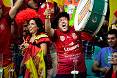 Spain's fan celebrates Xabi Alonso's goal in the penalty kick to score 10 Spain over Netherlands in Salvador for the match of the 2014 World Cup