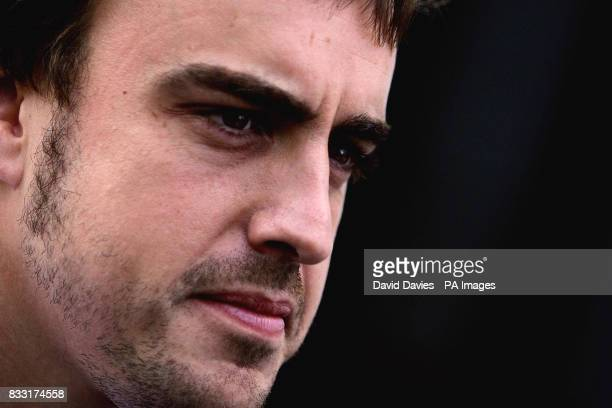 Spain's Fernando Alonso during a practice session for the European Formula One Grand Prix at Nurburgring Germany