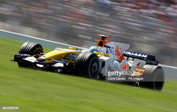 Spain's Fernando Alonso in the Renault during third practice during the qualifying session at MagnyCours Nevers France