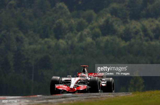 Spain's Fernando Alonso in the Vodafone McLaren Mercedes MP4/22 during a practice session for the European Formula One Grand Prix at Nurburgring...