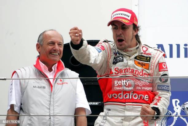Spain's Fernando Alonso of McLaren Mercedes celebrates winning the European Formula One Grand Prix at Nurburgring Germany