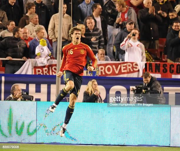 Spain's Fernando Llorente celebrates his goal during the International Friendly at the Ramon Sanchez Pizjuan Stadium in Seville Spain