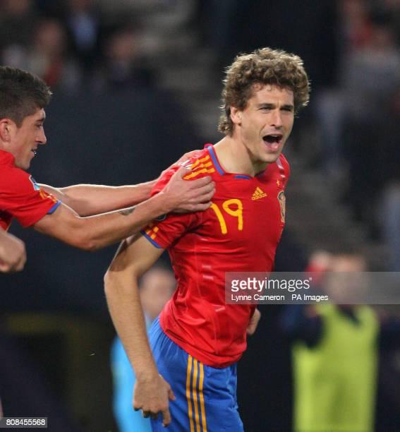 Spain's Fernando Llorente celebrates scoring the winning goal during the UEFA Euro 2012 Qualifying match at Hampden Park Glasgow