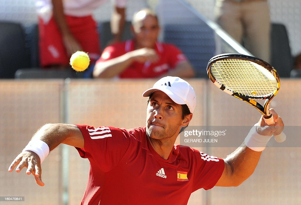 Spain's Fernando Verdasco celebrates after defeating Ukraine's Alexander Dolgopolov during the World Group Play-offs 2013 at the Caja Magica sports complex in Madrid on September 13, 2013. Winning nations qualify for the World Group in 2014.