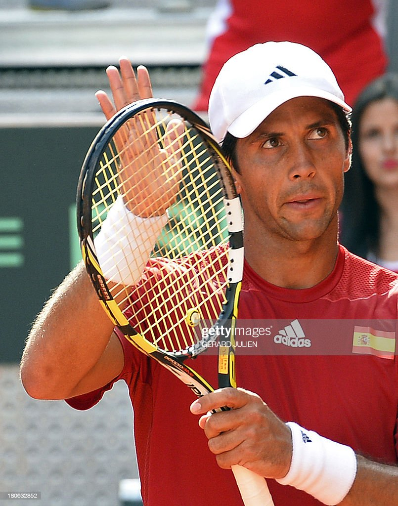 Spain's Fernando Verdasco celebrates after defeating Ukraine's Vladyslav Manafov during the Davis Cup World Group Play-offs 2013 match Spain vs Ukraine at the Caja Magica sports complex in Madrid on September 15, 2013. Verdasco won 6-2, 6-1 and Spain 5-0.