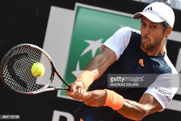 Spain's Fernando Verdasco hits a return to Belgium's David Goffin during their Rome ATP Tennis Open tournament on May 16 2017 at the Foro Italico in...