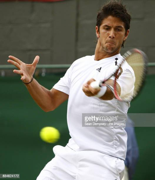 Spain's Fernando Verdasco in action against Czech Republic's Tomas Berdych during the Wimbledon Championships 2008 at the All England Tennis Club in...