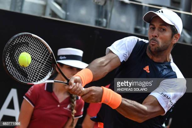 Spain's Fernando Verdasco returns to Belgium's David Goffin during their Rome ATP Tennis Open tournament on May 16 2017 at the Foro Italico in Rome /...