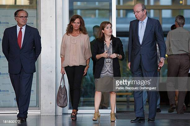 Spain's First Deputy Prime Minister government spokeswoman and Minister of the Prime Minister's Office Soraya Saenz de Santamaria and Head of Spain's...