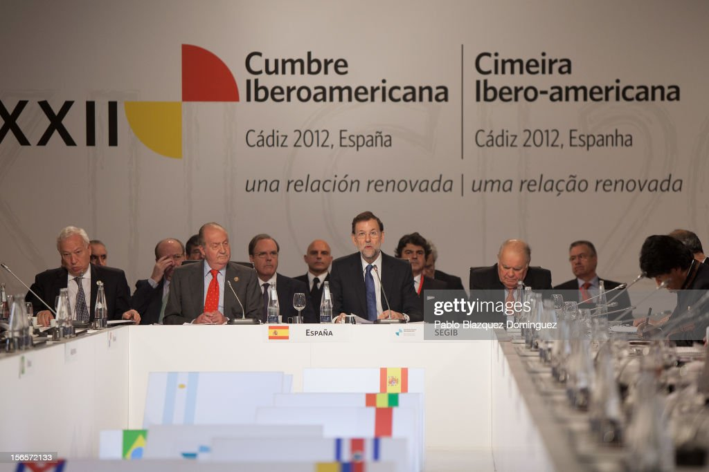 Spain's Foreign Affairs & Cooperation Minister Jose Manuel Garcia-Margallo, King Juan Carlos of Spain, Spain's Prime Minister Mariano Rajoy and Secretary-General of the Ibero-American Secretariat (SEGIB) Enrique Iglesias attend a plenary session during the last day of the XXII Ibero-American Summit at Congress Palace on November 17, 2012 in Cadiz, Spain. The 22nd Ibero-American Summit is Mariano Rajoy's first as President of Spain. The main issues of the meeting will be the economic crisis and how Latin American countries can contribute to the Eurozone recovery.