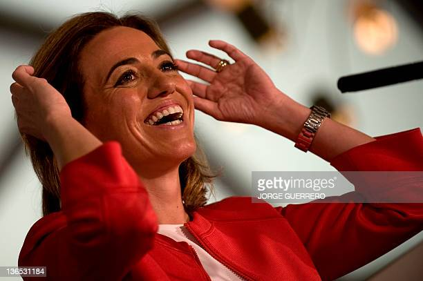 Spain's former defence minister Carmen Chacon gives a speech during a meeting in which she announced her official candidacy for the leadership of...