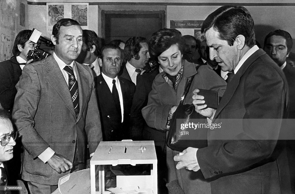 Spain's former Prime Minister Adolfo Suarez (R) and his wife Amparo cast their vote for a national referendum to approve the Political Reform Act of 1977 on December 15, 1976 in Madrid. The former prime minister who led post-Franco Spain to democracy, 81-year-old Adolfo Suarez, is gravely ill in a Madrid hospital and may not survive the weekend, his son said on March 21, 2014. Suarez, Spain's first prime minister after the death of General Francisco Franco in 1975, has suffered from Alzheimer's for the past decade.
