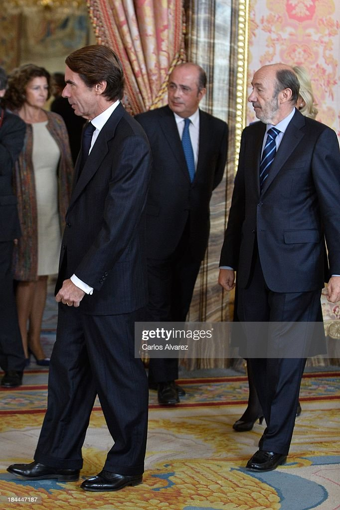 Spain's former prime minister Jose Maria Aznar and leader of Spain's Socialist Party Alfredo Perez Rubalcaba attend Spain's National Day Royal...