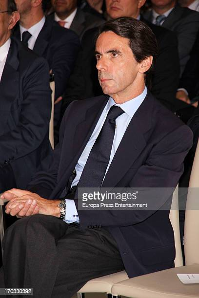 Spain's former prime minister Jose Maria Aznar gives a press conference at Club Siglo XXI on June 10 2013 in Madrid Spain