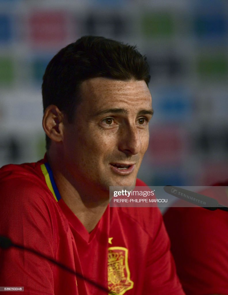 Spain s forward Aritz Aduriz speaks during a press conference at