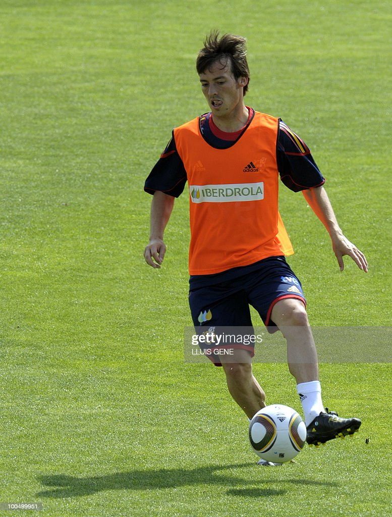 Spain's forward David Silva takes part in a training session of the Spanish football team on May 25, 2010, at the Sports City of Las Rozas, near Madrid. Spain, among the favourites for the World Cup, which runs from June 11-July 11, face Switzerland, Honduras and Chile in Group H of the opening round.