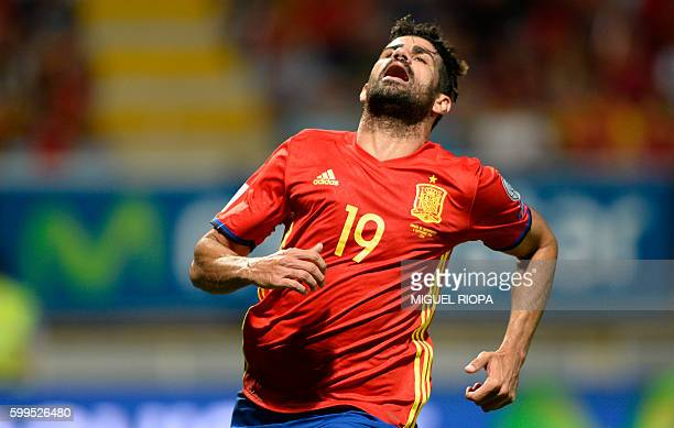 Spain's forward Diego Costa gestures as he runs for a ball during the WC 2018 football qualification match between Spain and Liechtenstein at the...