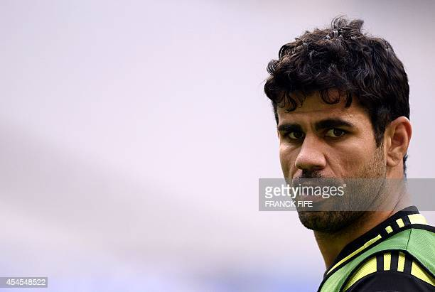 Spain's forward Diego Costa takes part in a training session on September 3 on the eve of the friendly football France vs Spain at the StadedeFrance...