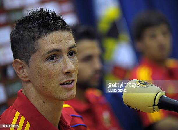 Spain's forward Fernando Torres takes part in a press conference after a training session of the Spanish football team on May 26 at the Sports City...