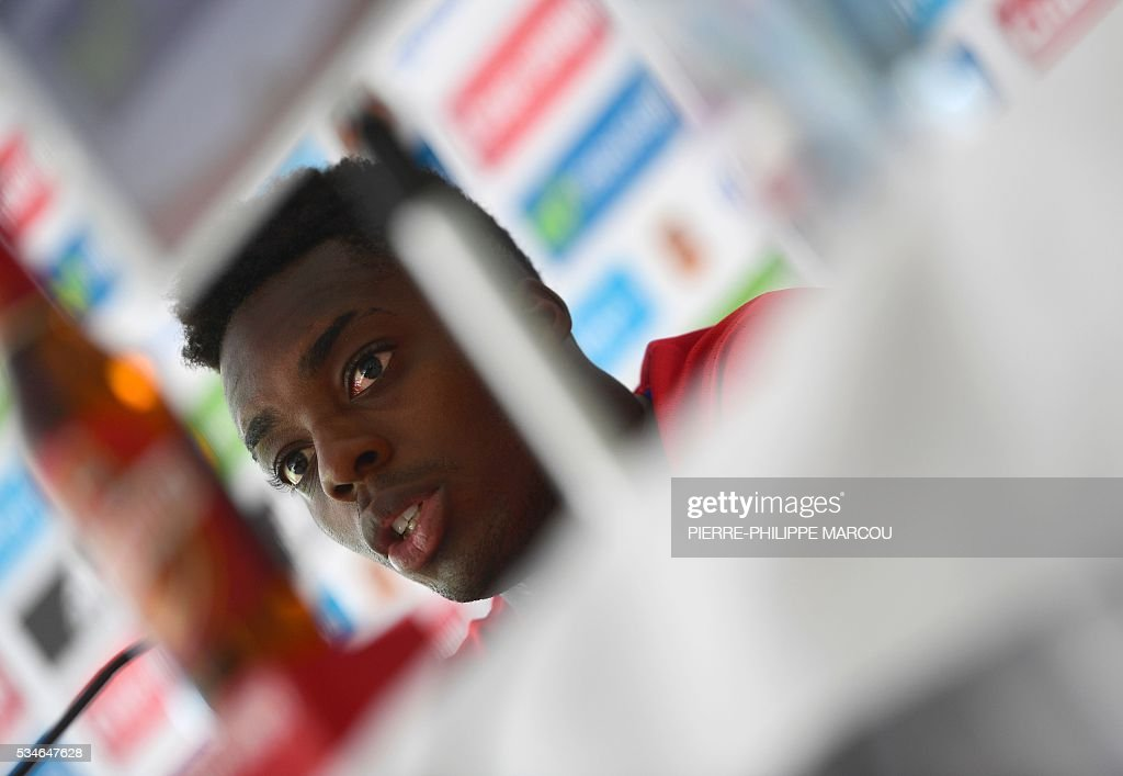 Spain's forward Inaki Williams attends a press conference after a training session in Schruns on May 27, 2016 preparing the upcoming Euro 2016 European football championships. / AFP / PIERRE
