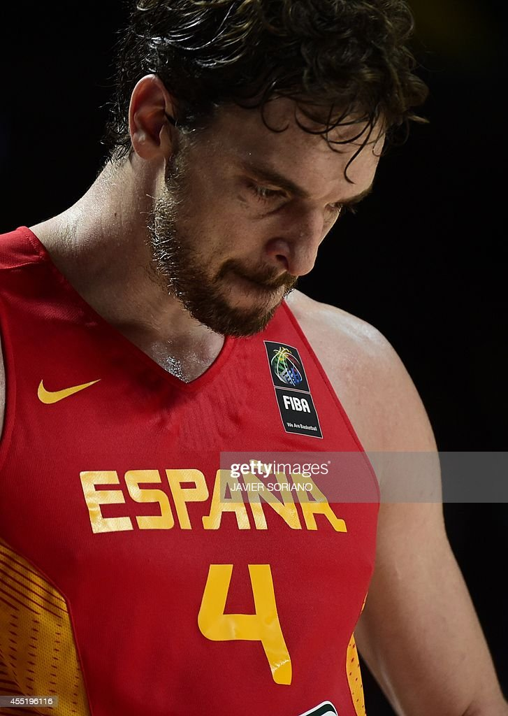 Spain's forward Pau Gasol reacts during the 2014 FIBA World basketball championships quarterfinal match France vs Spain at the Palacio de los...