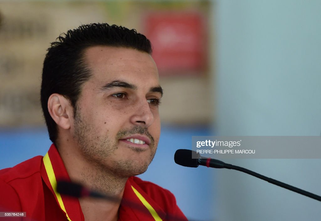 Spain's forward Pedro attends a press conference after a training session in Schruns on May 30, 2016 ahead of the upcoming Euro 2016 European football championships. / AFP / PIERRE