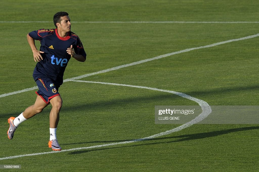 Spain's forward Pedro Rodriguez takes part in a training session of the Spanish football team with Spain's Prince Felipe on May 24, 2010, at the Sports City of Las Rozas, near Madrid. Spain, among the favourites for the World Cup, which runs from June 11-July 11, face Switzerland, Honduras and Chile in Group H of the opening round.