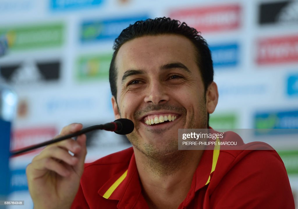 Spain's forward Pedro smiles during a press conference after a training session in Schruns on May 30, 2016 ahead of the upcoming Euro 2016 European football championships. / AFP / PIERRE
