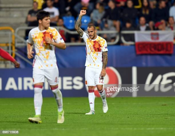 Spain's forward Sandro Ramirez celebrate after scoring during the UEFA U21 European Championship Group B football match Portugal v Spain on June 20...