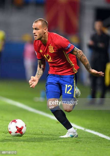 Spain's forward Sandro Ramirez plays the ball during the group stage Group B match Spain vs FYR Macedonia of the 2017 UEFA European Under21...