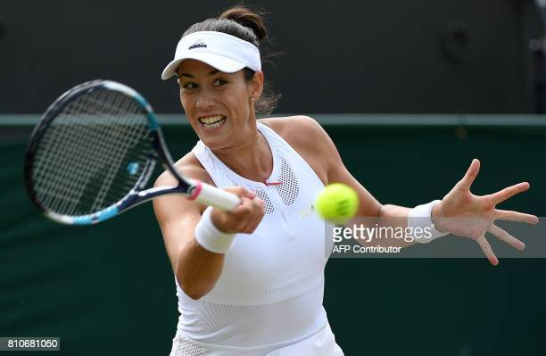 Spain's Garbine Muguruza returns against Romania's Sorana Cirstea during their women's singles third round match on the sixth day of the 2017...