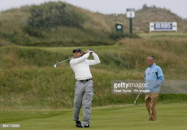 Spain's Garcia on the third hole during a practice round at the Royal Birkdale Golf Club Southport