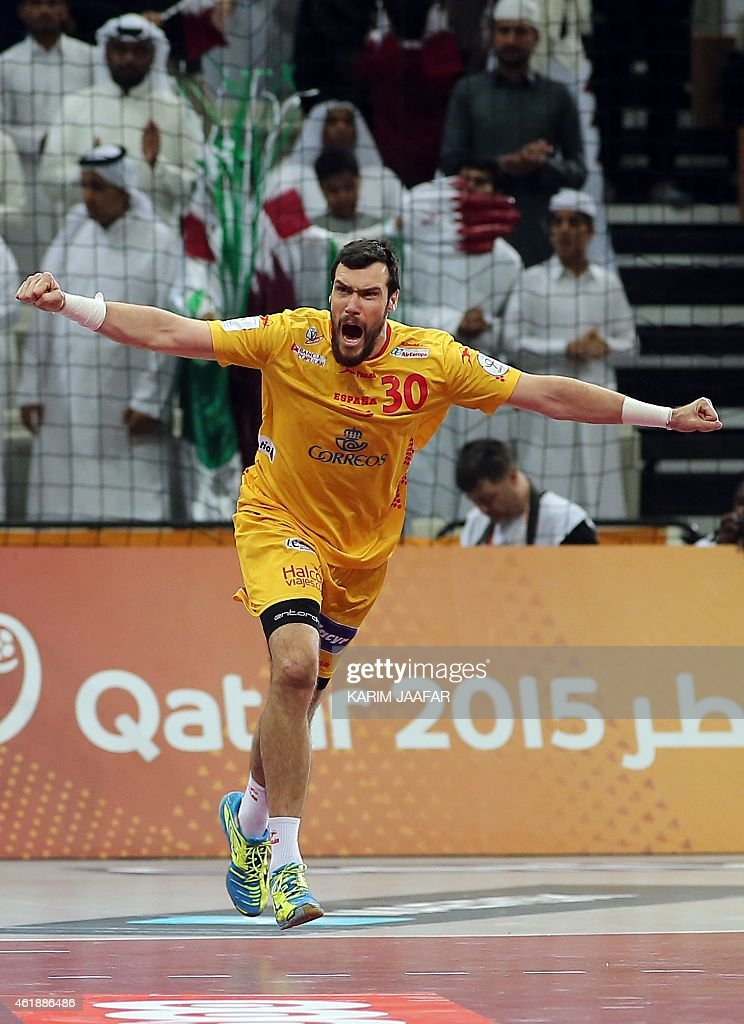 Spain's Gedeon Guardiola reacts after scoring during the 24th Men's Handball World Championships preliminary round Group A match between Qatar and Spain at the Lusail Sports Arena in Lusail in Doha on January 21, 2015. AFP PHOTO / AL-WATAN DOHA / KARIM JAAFAR == QATAR OUT =