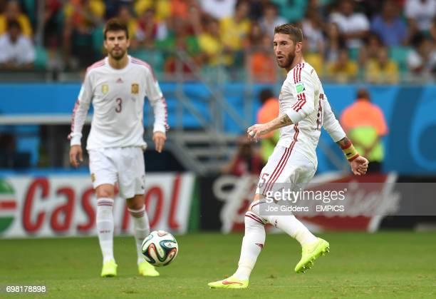 Spain's Gerard Pique and Sergio Ramos