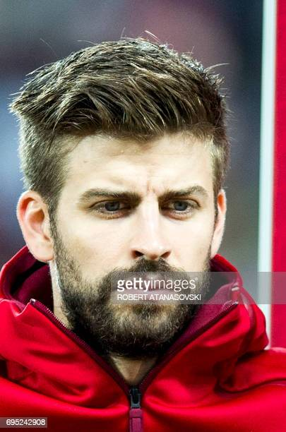 Spain's Gerard Pique looks on prior to the FIFA World Cup 2018 qualifying football match betyween Macedonia and Spain at Philip II of Macedon stadium...