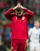 Spain's Gerard Pique reacts after Euro 2016 qualifing football match between Slovakia and Spain in northern Slovak town of Zilina on October 9 2014...